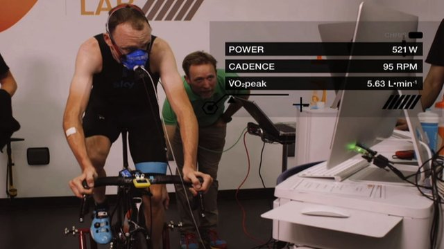 Chris Froome undertaking laboratory tests