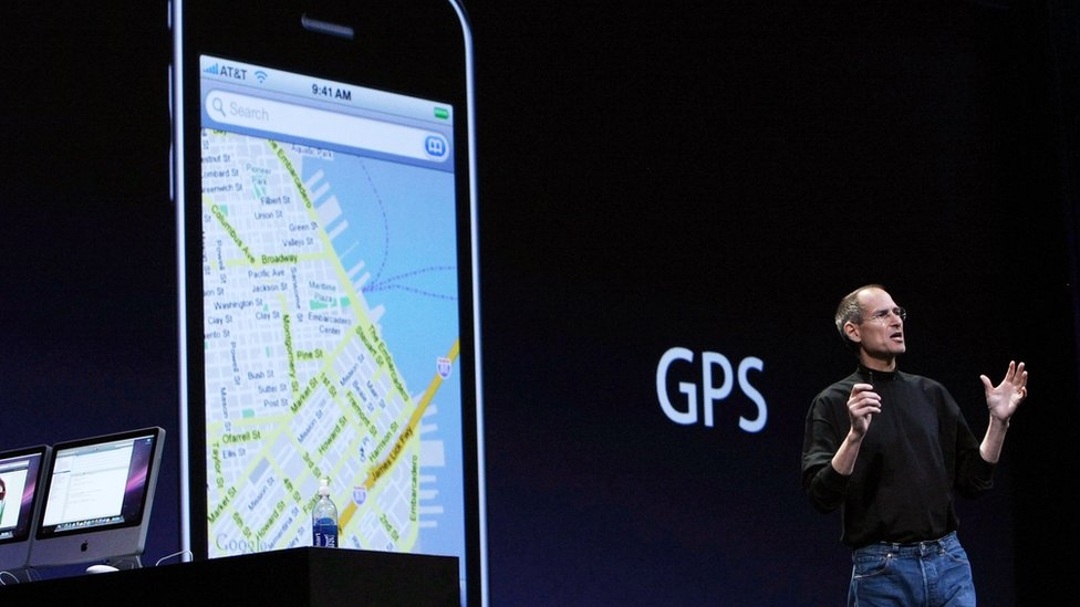 Steve Jobs on stage during a presentation for a new iPhone in 2008