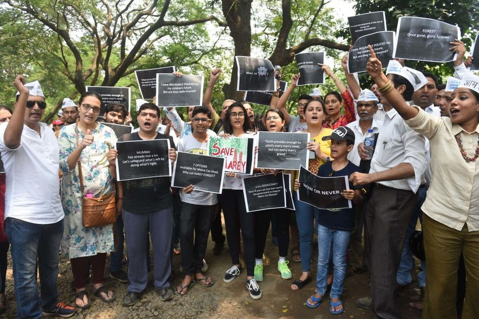 Residents of Aarey colony and Aam Aadmi Party members protest against cutting of trees to build a metro shed at Aarey Colony on 2 October 2018 in Mumbai, India.