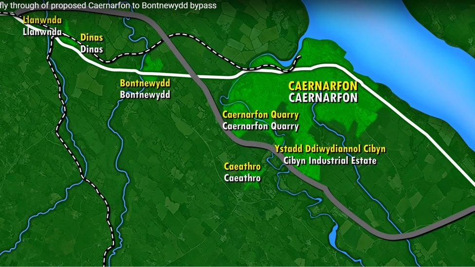 The proposed route of the new Caernarfon bypass
