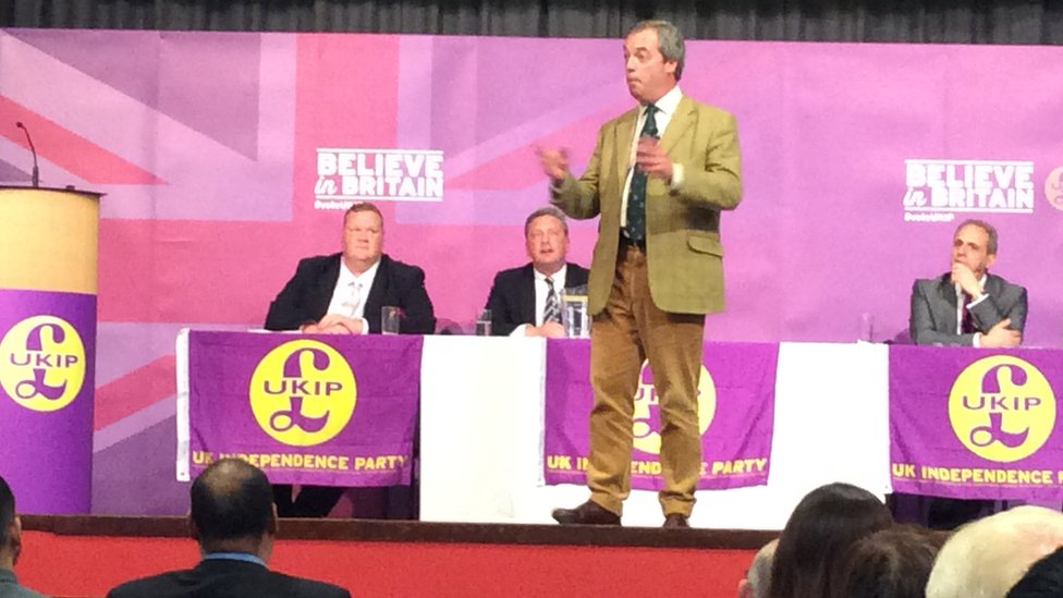Nigel Farage with James Parkin (far left)