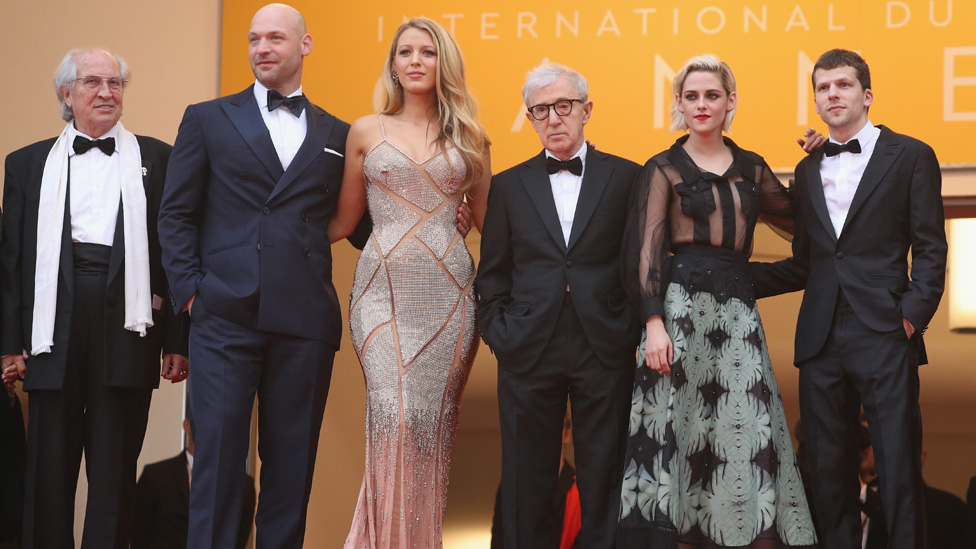 Stars of opening film Cafe Society joined director Woody Allen