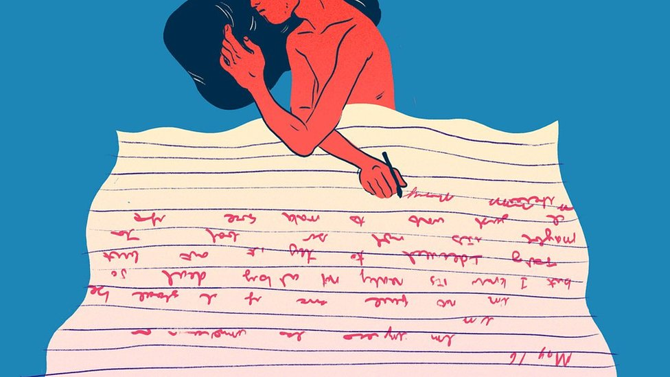 Animation of someone in bed, writing feelings on a piece of paper used as a bed cover