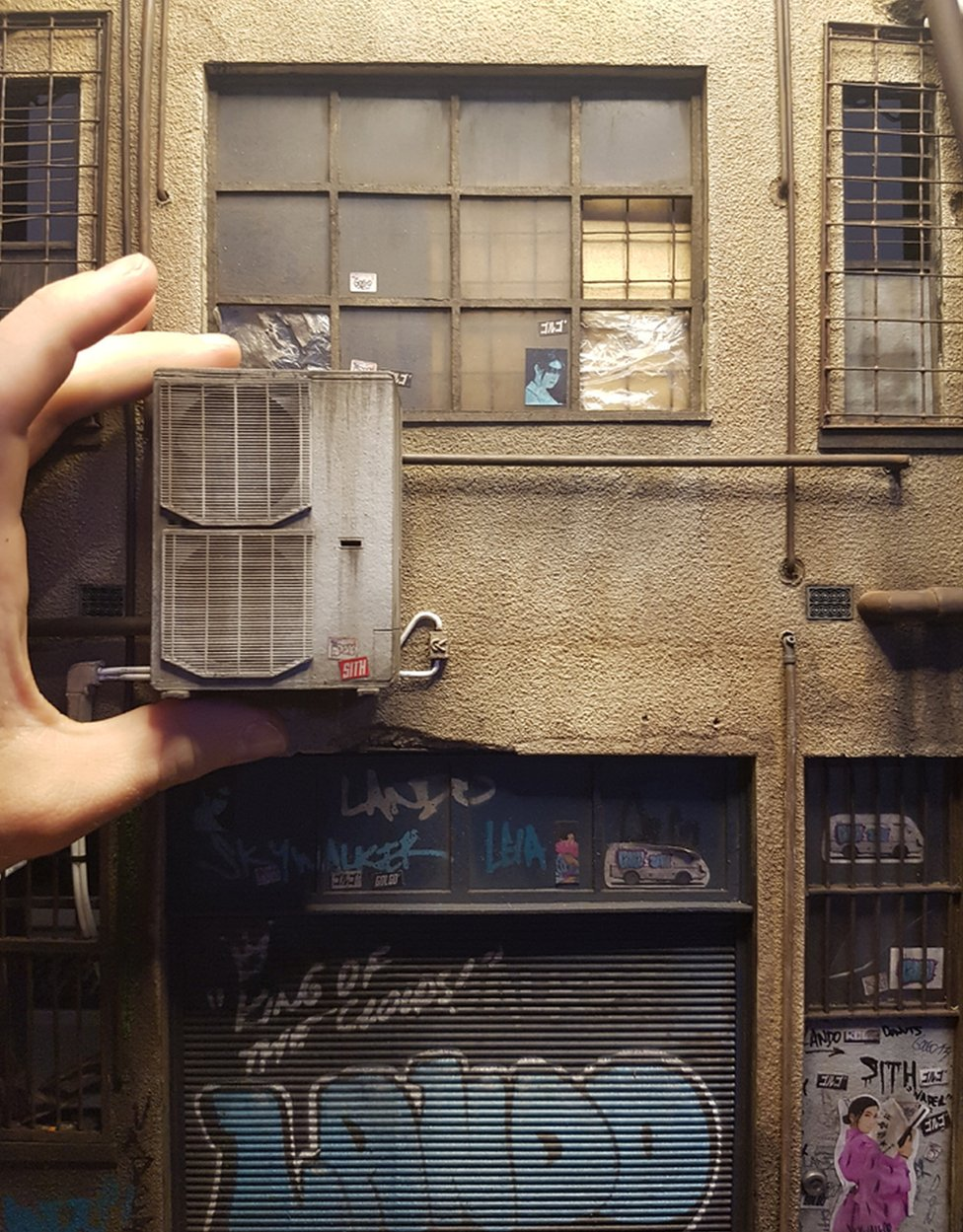 A small model of a building close up