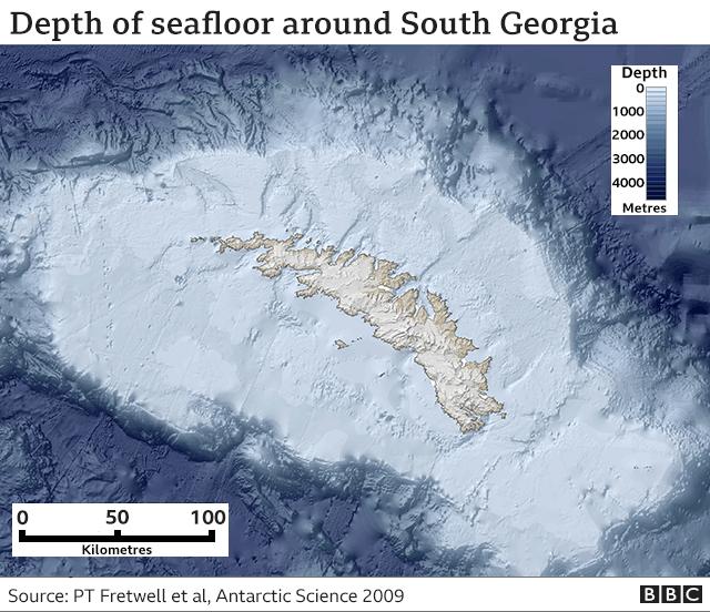 Map of continental shelf
