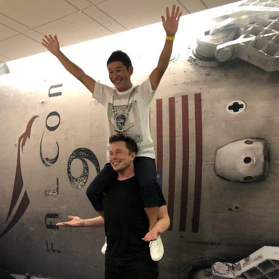 Yusaku Maezama y Elon Musk
