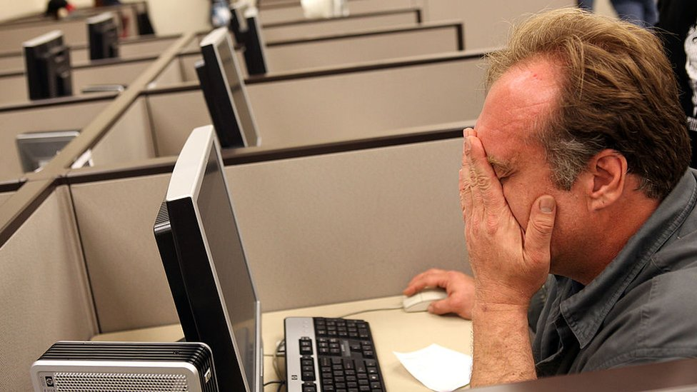 Trabajador aburrido