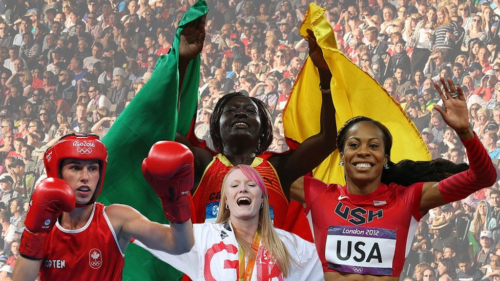 Composite image of boxer Mandy Bujold, para-archer Jodie Grinham, triple jumper Francoise Mbango Etone and sprinter Sanya Richards-Ross