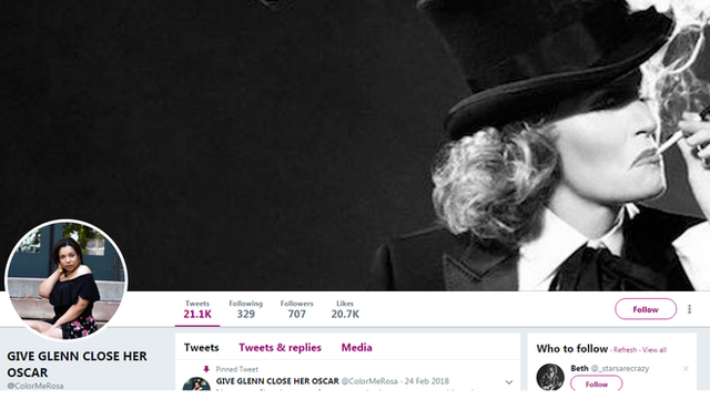 Cuenta de Twitter de una seguidora de Glenn Close
