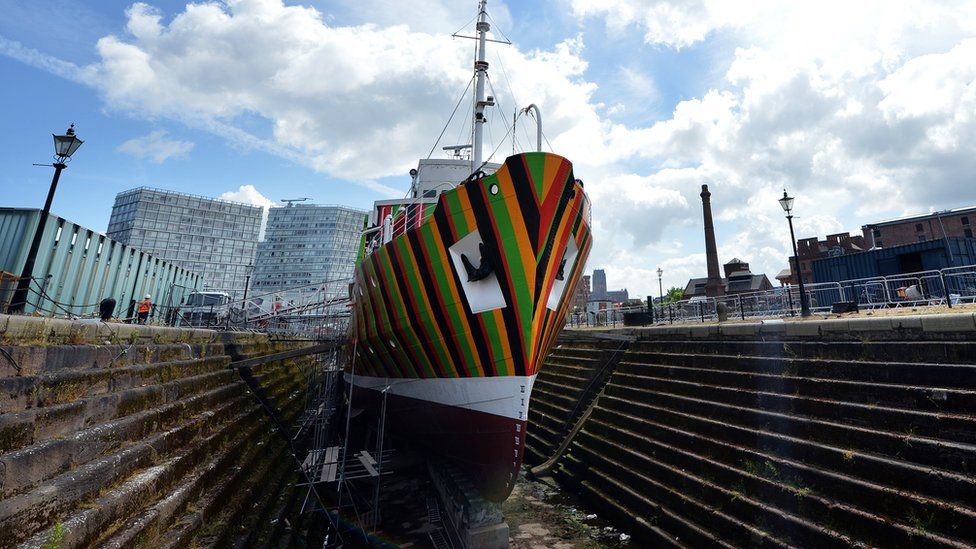 A picture shows the newly-painted Edmund Gardner, a historic pilot ship placed in the dry dock at the Albert Dock in Liverpool, northwest England on June 11, 2014.