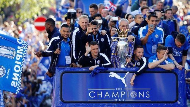 Premier League winners Leicester FC enjoy open top bus victory parade