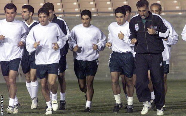 Iran's players training before their 2000 friendly match against USA at the Rose Bowl