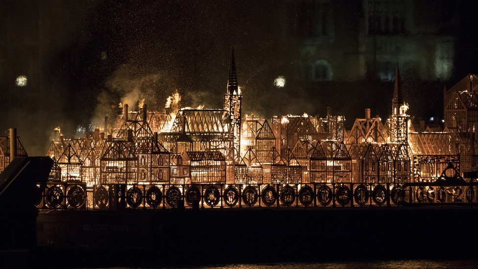 A model of London's skyline set alight