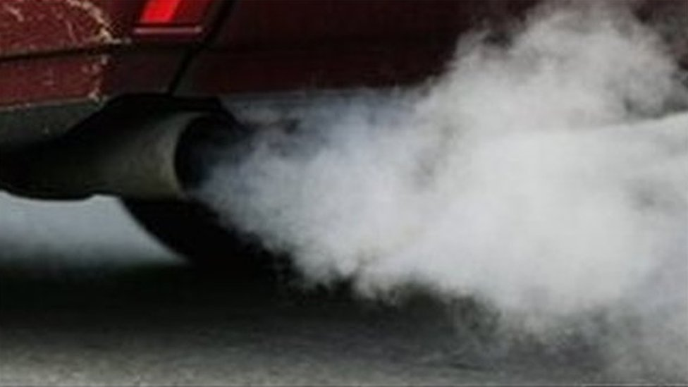 Exhaust fumes from a car