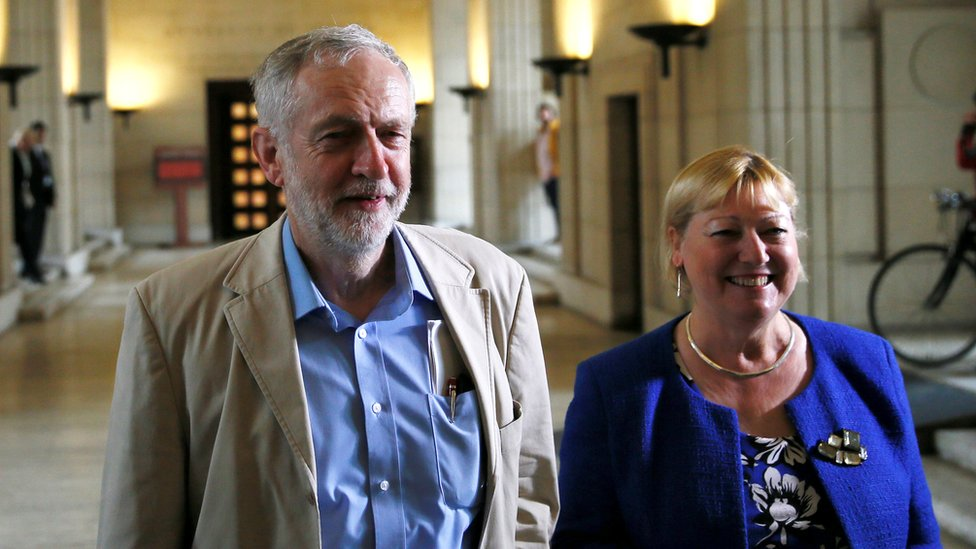 Pat Glass pictured with Jeremy Corbyn