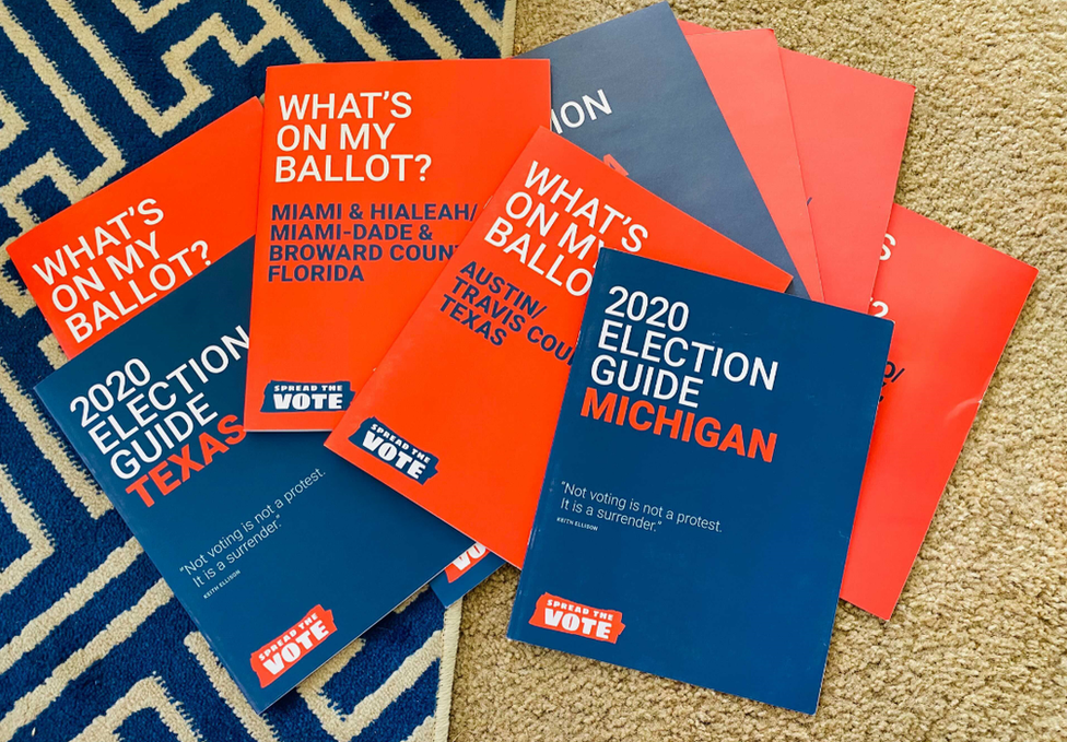 Voting guide leaflets for different states made by Spread the Vote