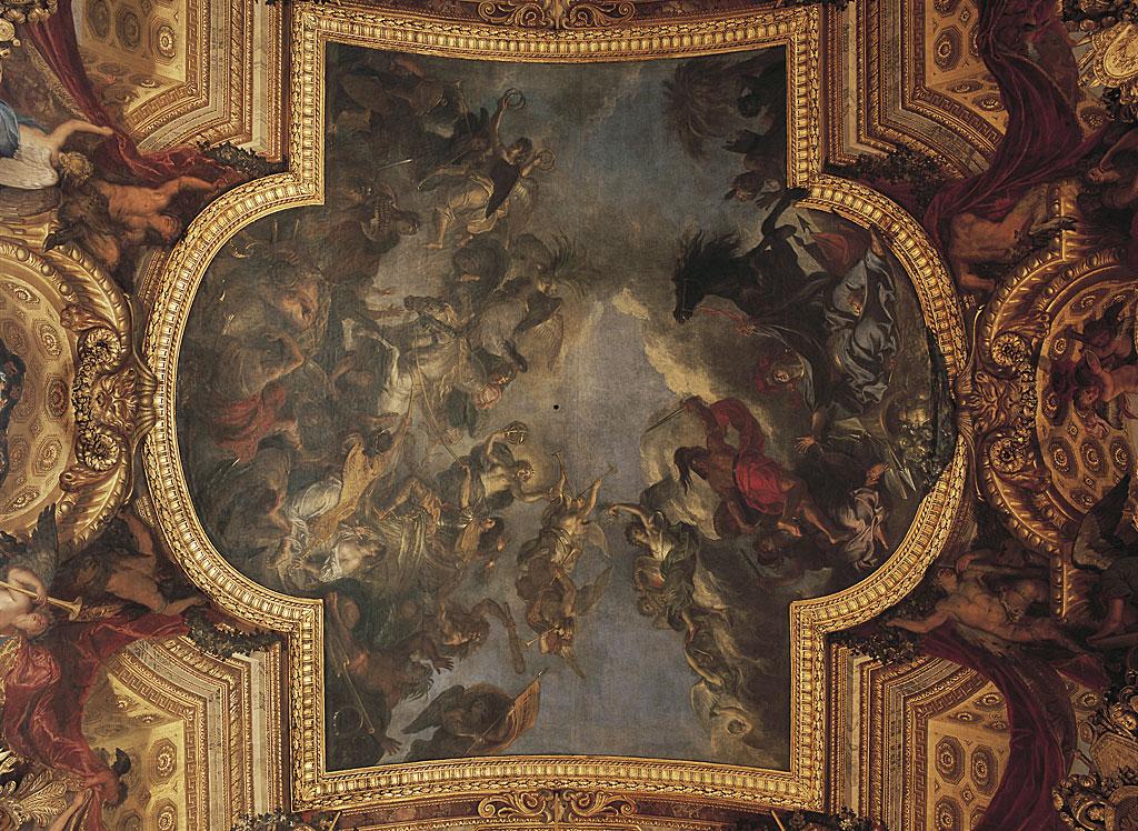 """""""El cruce del Rin en presencia de enemigos"""", obra de Le Brun en el techo del Salón de los Espejos en Versalles."""