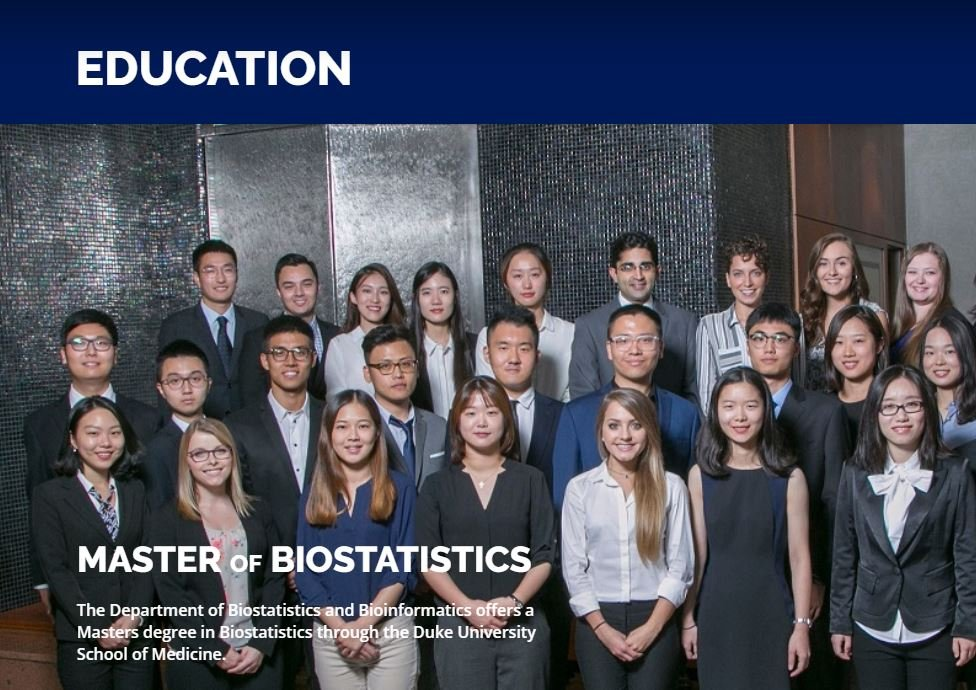 University webpage image for Master of Biostatistics course