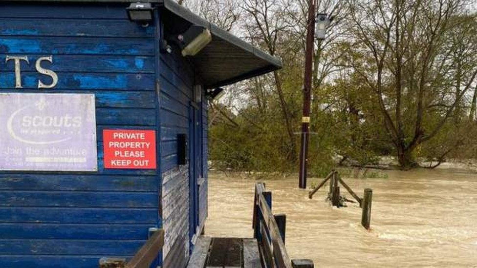 A flooded Sea Scout hut
