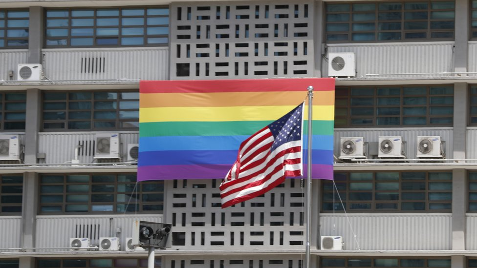 pride flag on US embassy in Seoul