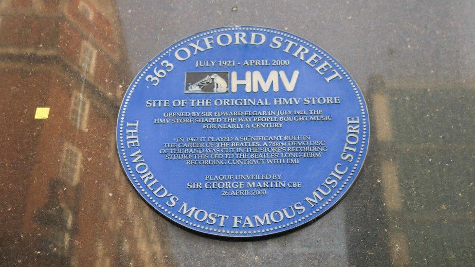 Plaque to first HMV shop