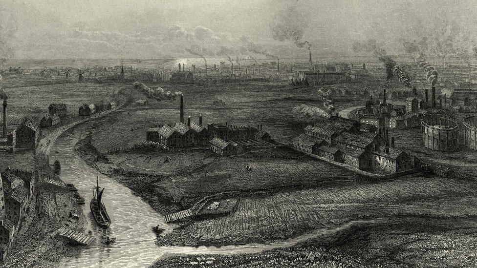 Vintage engraving of Hull, Yorkshire, in the 19th Century