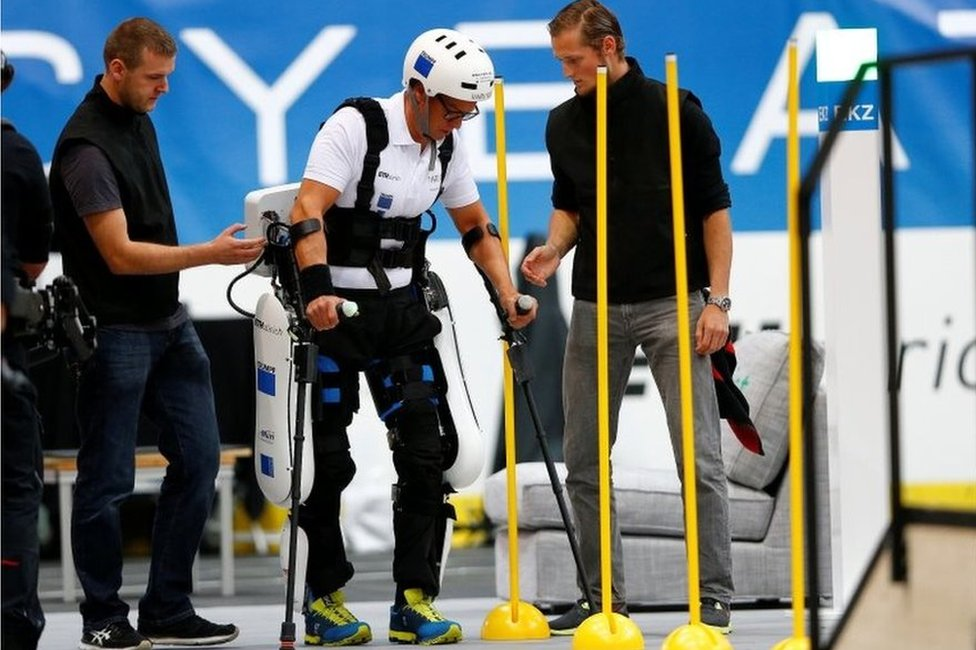 Philipp Wipfli competes during the powered exoskeleton race