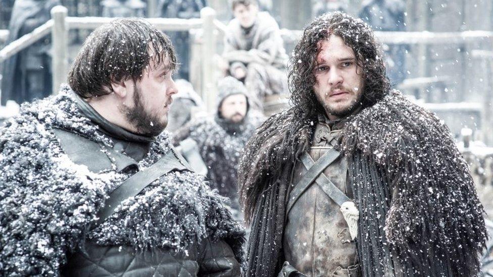 Kit Harington playing Jon Snow with John Bradley playing Samwell Tarly in Game of Thrones
