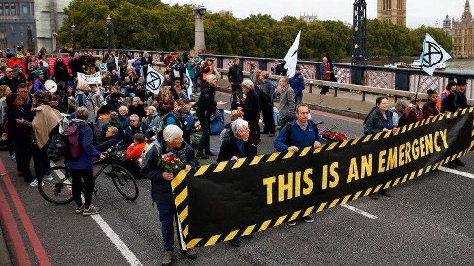 Activists on Lambeth Bridge