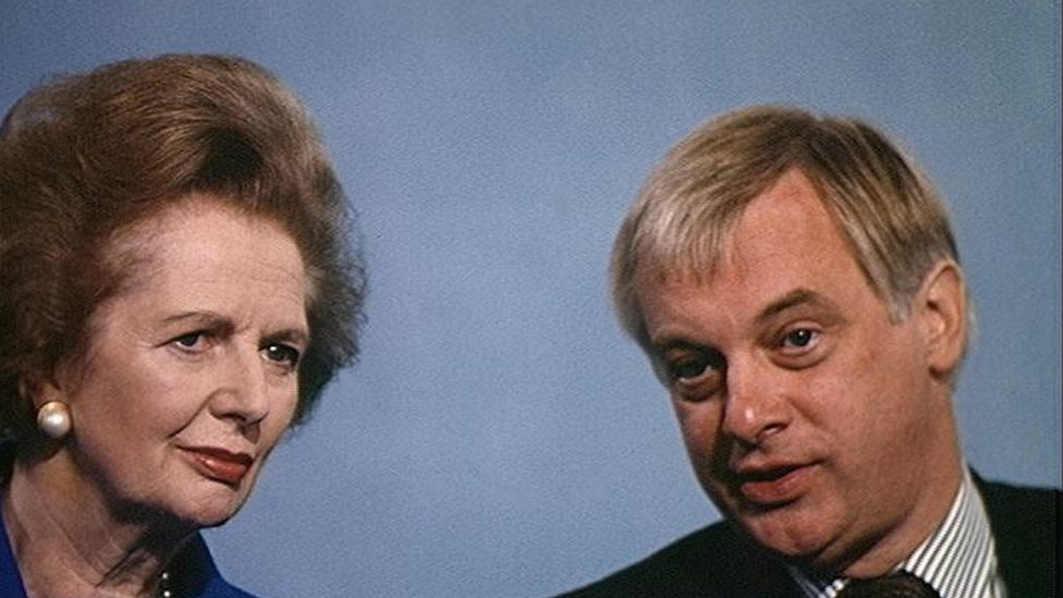 Margaret Thatcher and Chris Patten in 1991