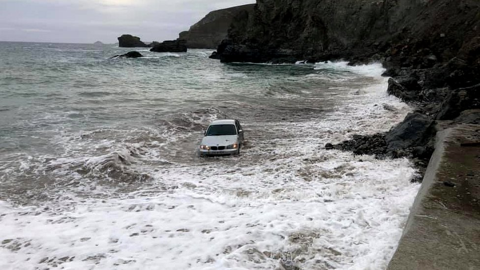 Car in sea