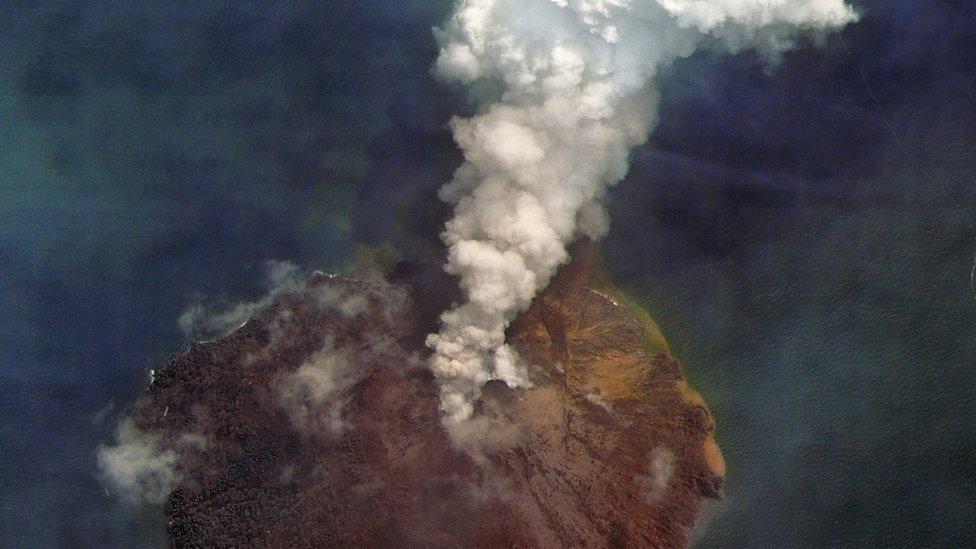 The Kadovar Island volcano erupting in Papua New Guinea