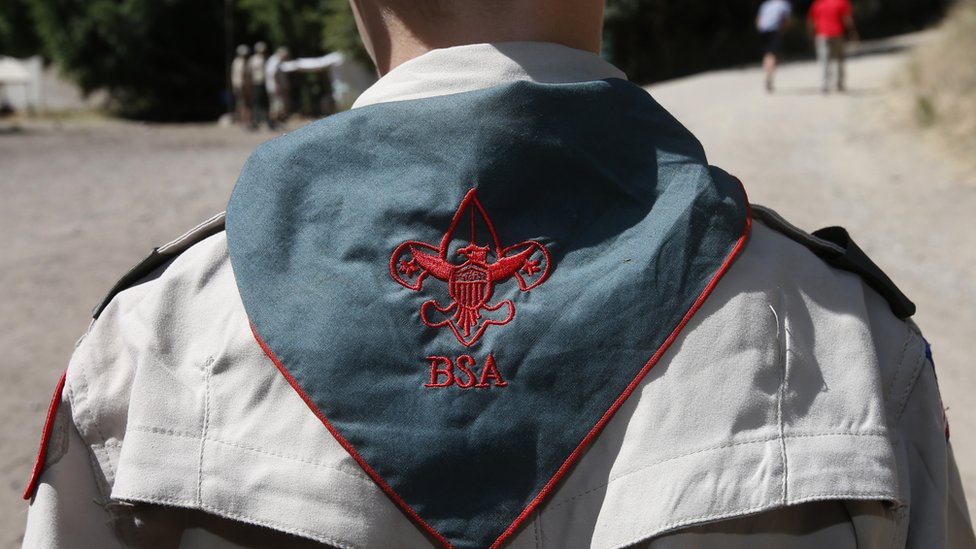 A Boy Scout listens to instructions at camp in Utah on 31 July 2015.