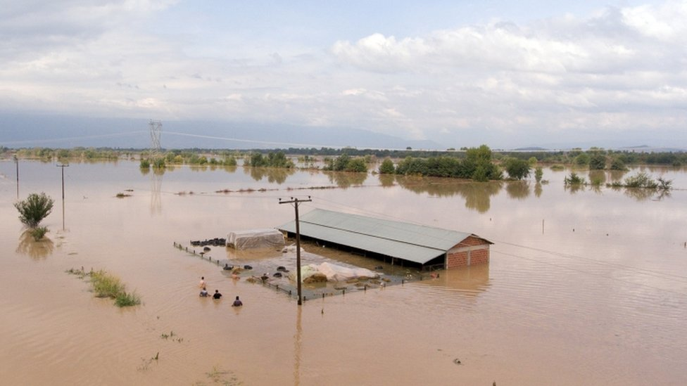 Sheep breeders reach a flooded farm to save their animals, following a storm near the village of Megala Kalyvia, in central Greece, September 19, 2020