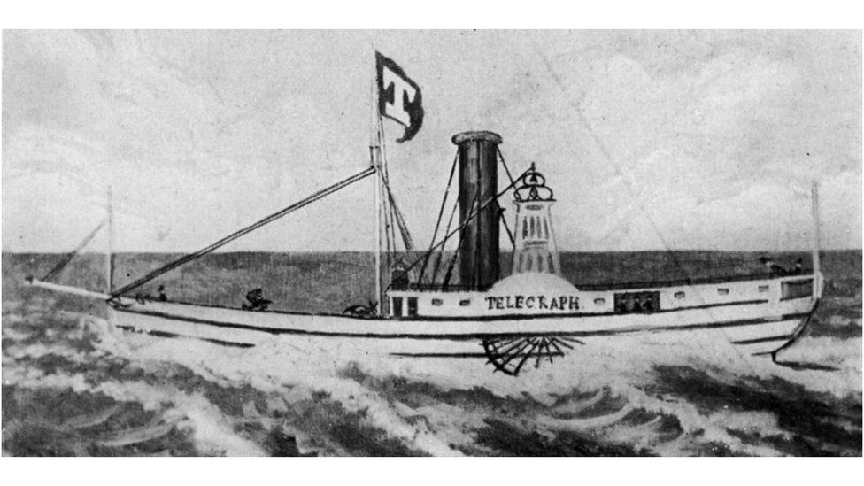 El barco en cuestión, el Telegraph, se puede ver en este grabado de 1832.