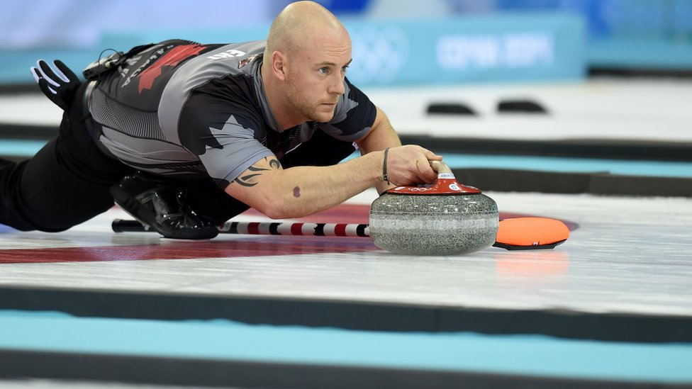 Ryan Fry curling at the Sochi 2014 Winter Olympics