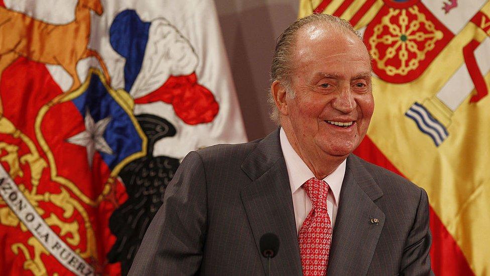 El emérito rey Juan Carlos I durante un viaje a Chile.