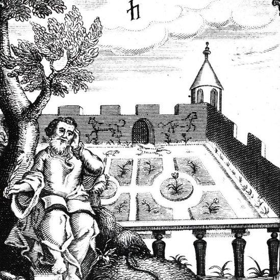 """Un grabado de madera del siglo XIX ilustrando a un hombre apoyando la cabeza en la mano. Está sentado bajo un árbol en un jardín amurallado. La ilustración es un detalle de la portada del libro """"La anatomía de la melancolía"""", de Robert Burton, originalmente publicado en 1621"""