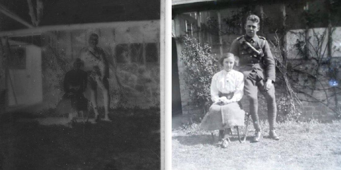 Devojka i vojnik u bašti