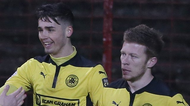 Cliftonville scorers Jay Donnelly and Stephen Garrett