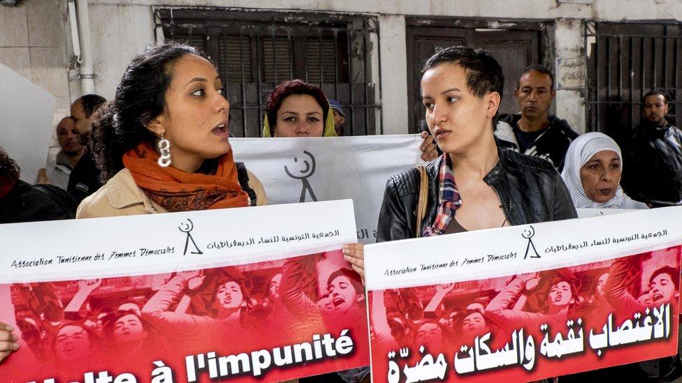 صورة أرشيفية لمتظاهرات تونسيات ضد حرائم الاغتصاب