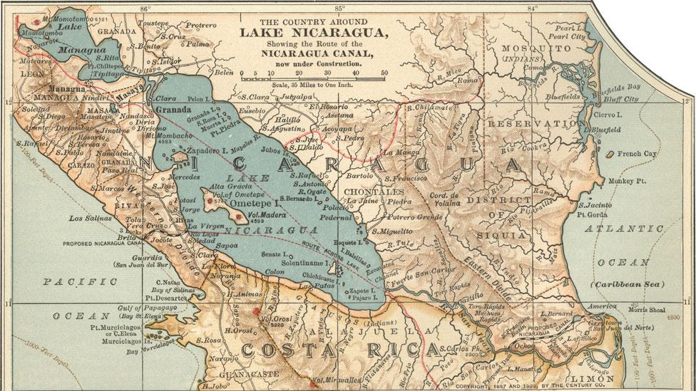 Mapa de Nicaragua del 1900