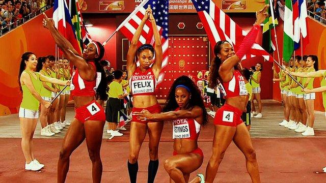 The US relay team enter the Bird's Nest Stadium in style