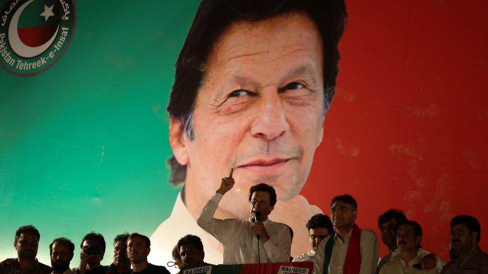 عمران خان خلال الحملة الانتخابية
