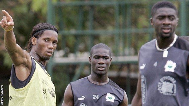 Didier Drogba in Ivory Coast training