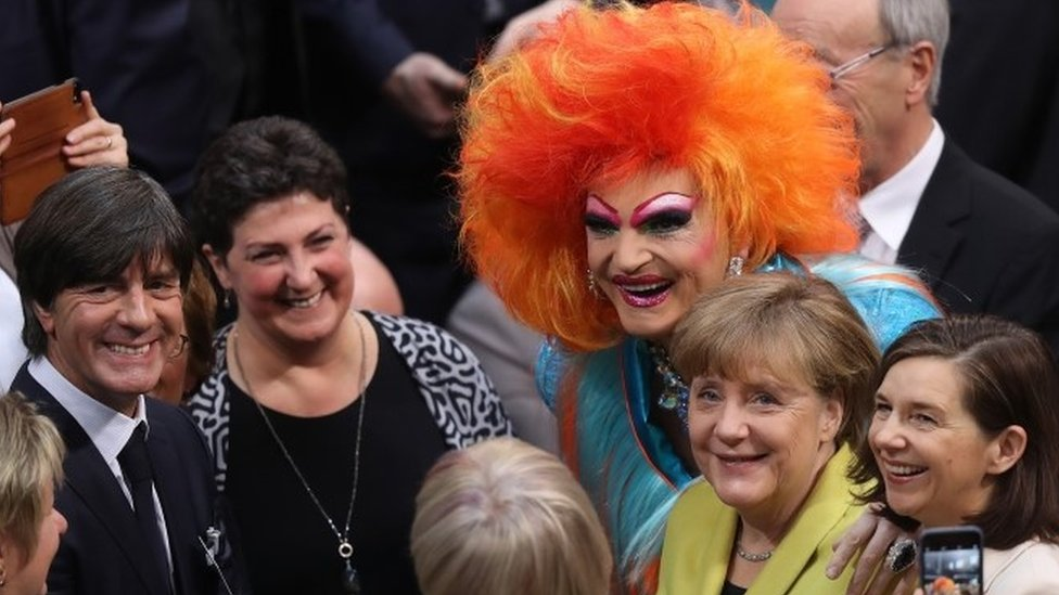Drag queen Olivia Jones at the Federal Assembly to chose a new German president, 12 February 2017