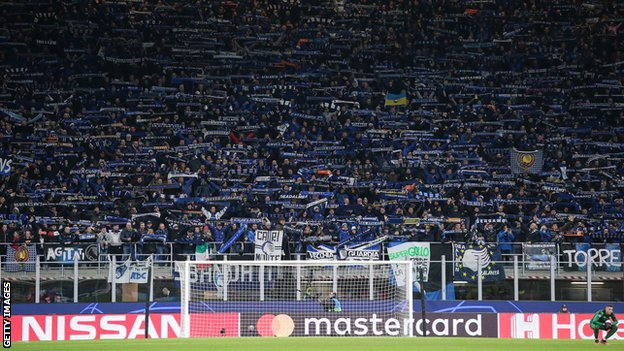 General view of stands at San Siro during Atalanta's 'home' match with Valencia in February