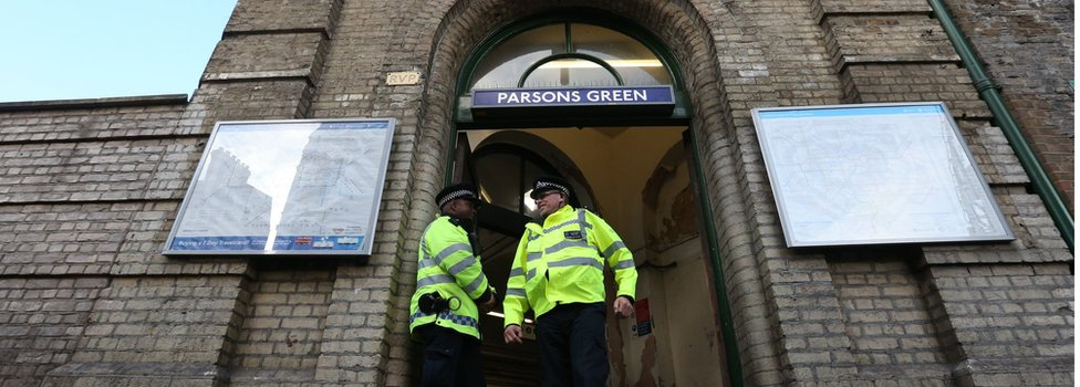 Police at Parsons Green the day after the attack