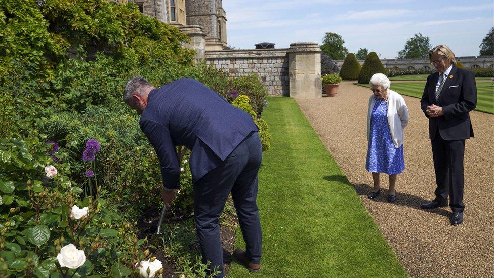La Reina en el lugar donde fue plantada la rosa.