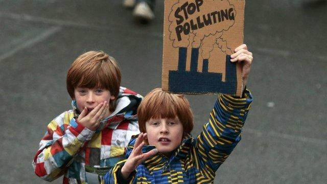 Children protesting in London